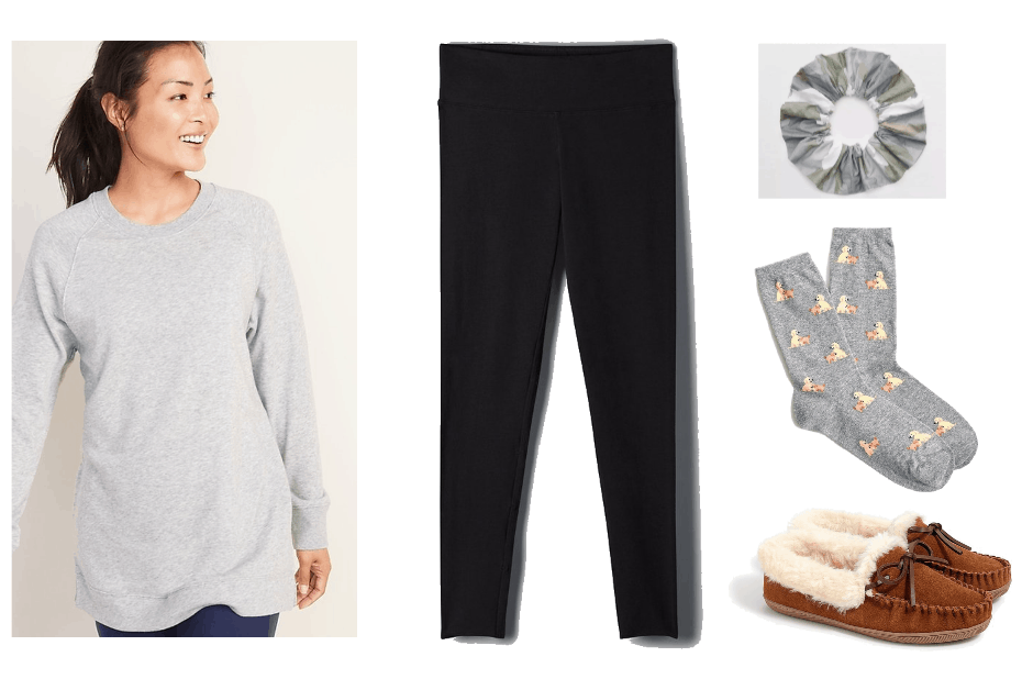 What to wear while at home all day look 1: long grey tunic, black leggings, patterned duck socks, slippers, and a scrunchie.