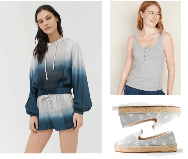 What to wear when you are home all day look 2: blue and white tie die set from Urban Outfitters, grey. cami, grey espadrilles