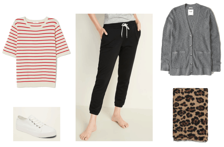 What to wear when you're at home all day look 3: ivory and red striped short sleeve sweater, black jogger pants, grey cardigan, leopard print scarf, and white sneakers.