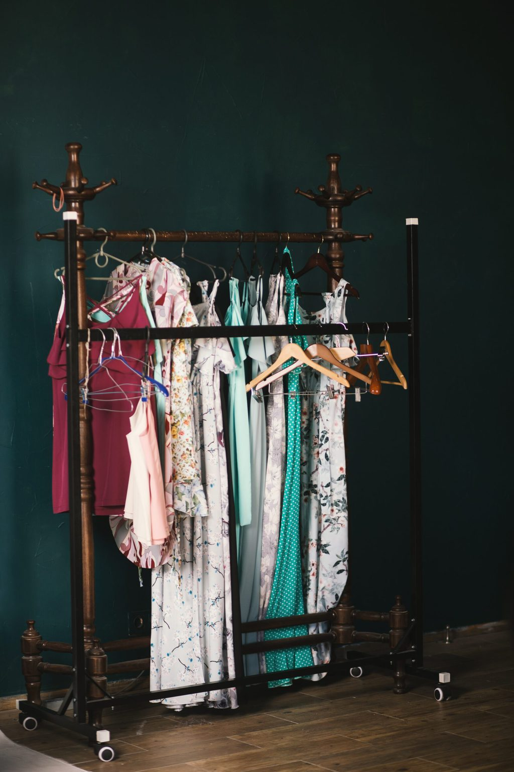 Stock photo of a clothing rack