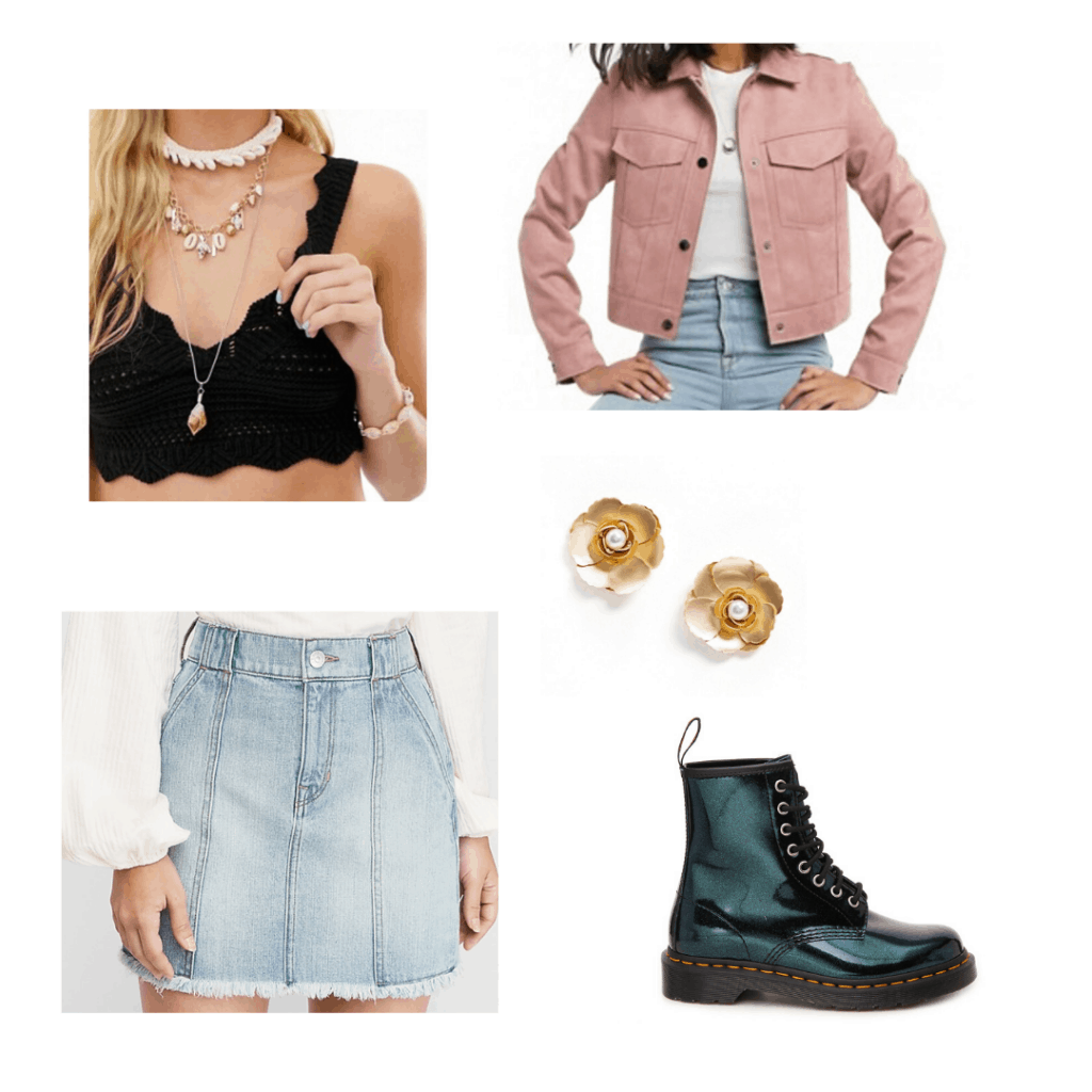 Outfit idea with a crochet crop top, pink jacket, skirt, doc martens boots, and floral earrings