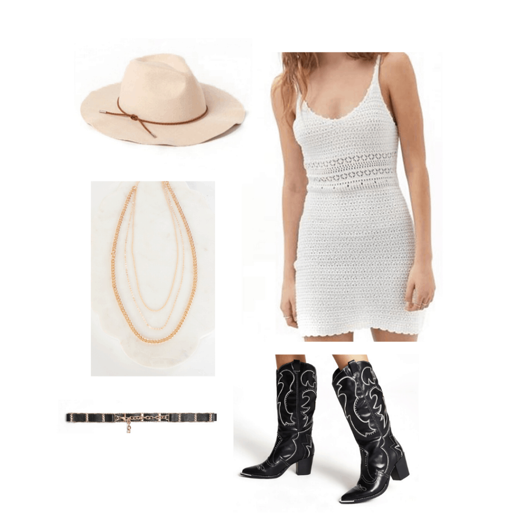 Crochet outfit with crochet dress, hat, cowgirl boots, belt, necklace