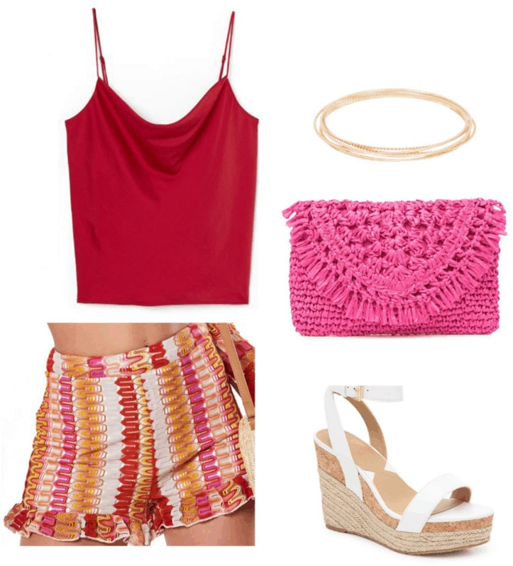 Crochet shorts outfit with striped crochet shorts, satin tank, woven pink bag, platform heels