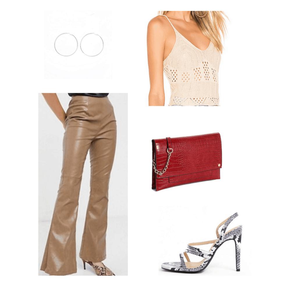 Crochet outfit idea: Crochet crop top, faux leather pants, red crossbody bag, snakeskin heels