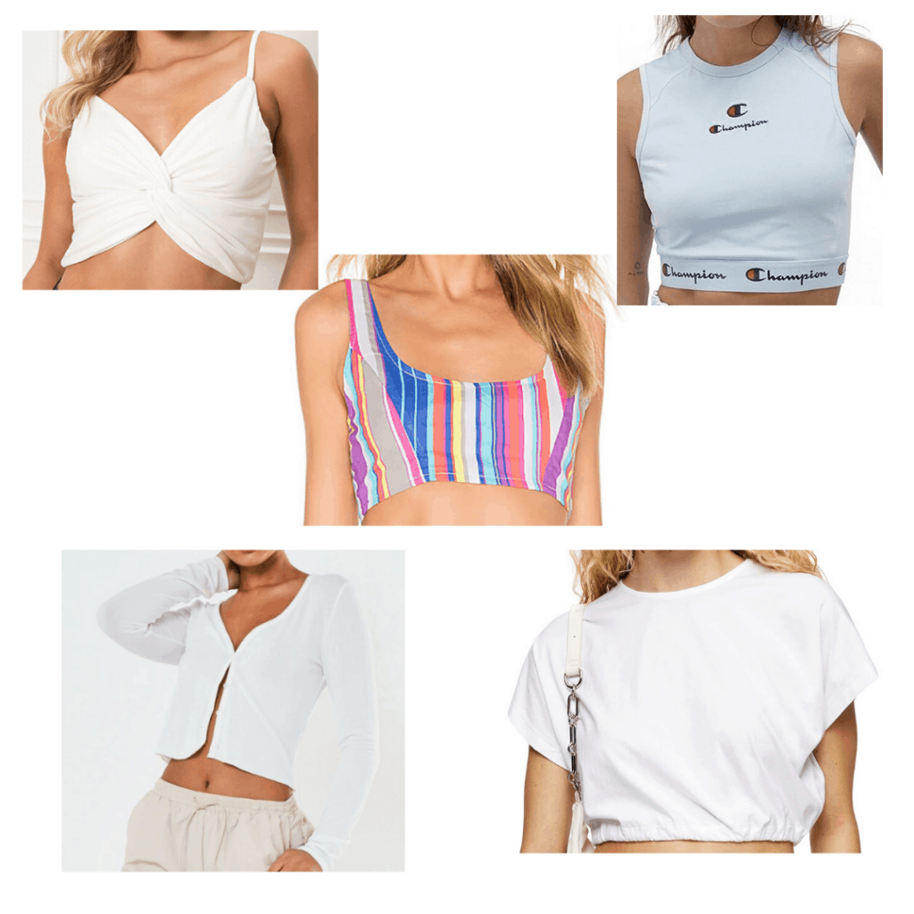 Cute crop tops for making TikToks: White, light blue, striped, and cardigans