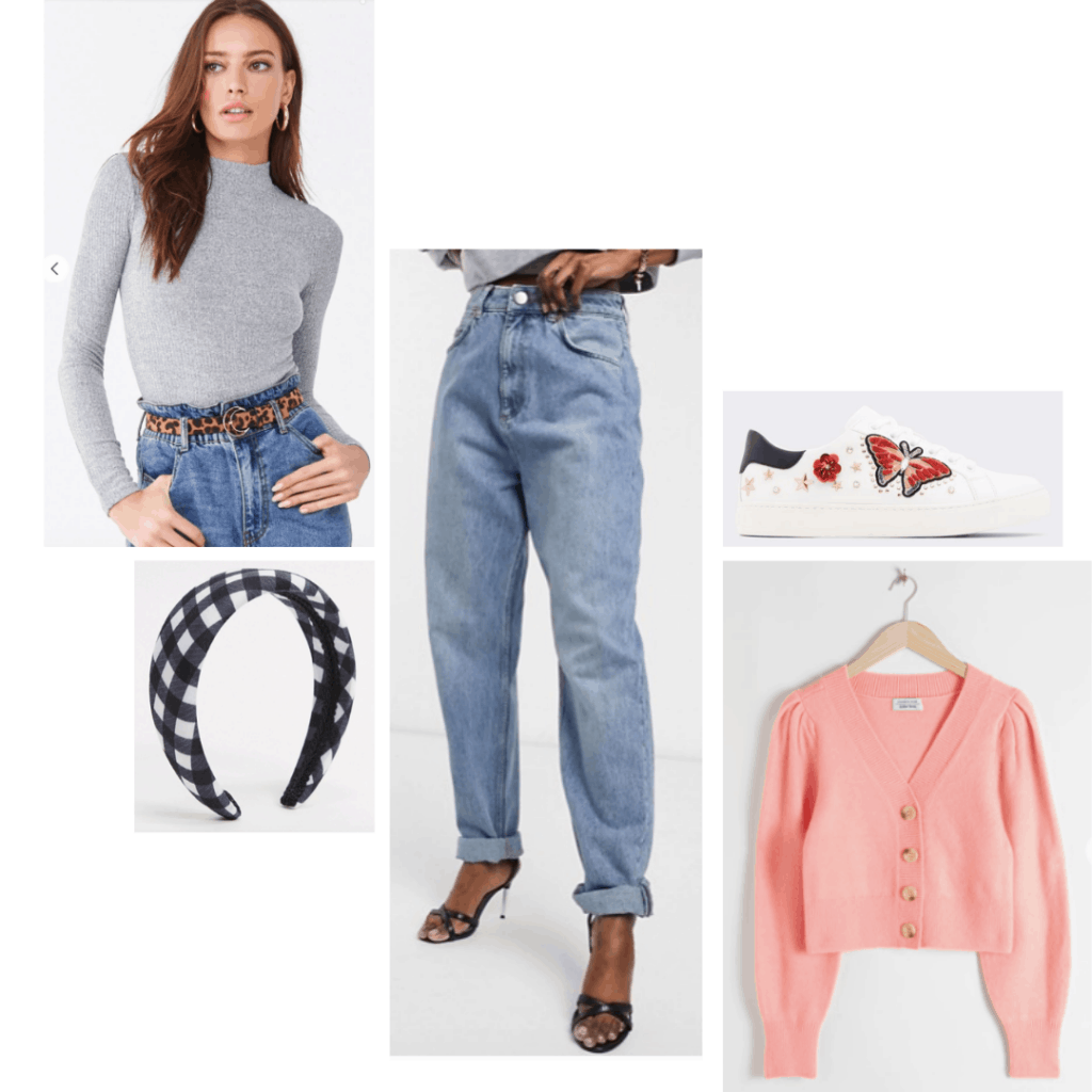 Cozy date night mom jeans outfit: Light wash baggy mom jeans, headband, butterfly sneakers, pink cardigan, bodysuit