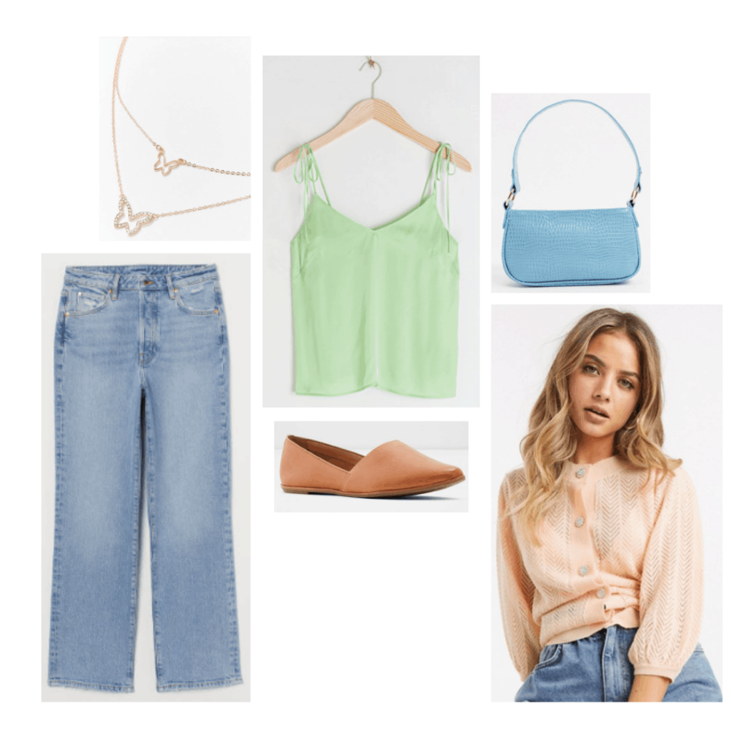 High school musical fashion: Gabriella Montez outfit with light wash jeans, pastel cardigan, mint green cami, butterfly necklaces and mini purse