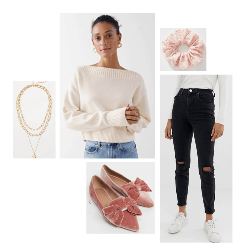 Mom jeans outfit with white sweater, black ripped mom jeans, velvet bow flats, scrunchie, gold necklaces