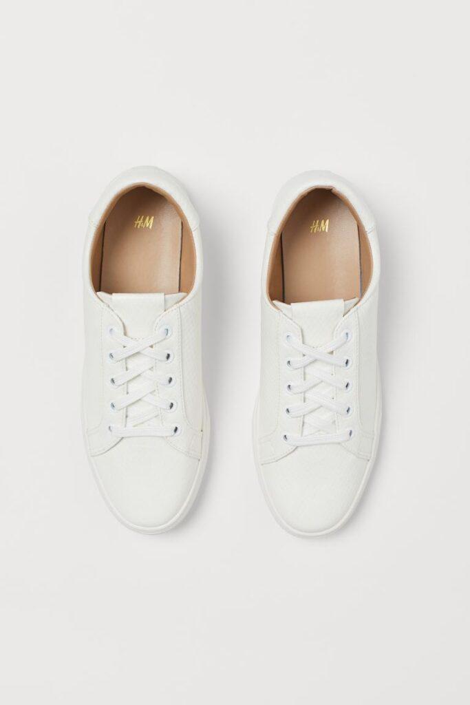 Snakeskin patterned white H&M sneakers