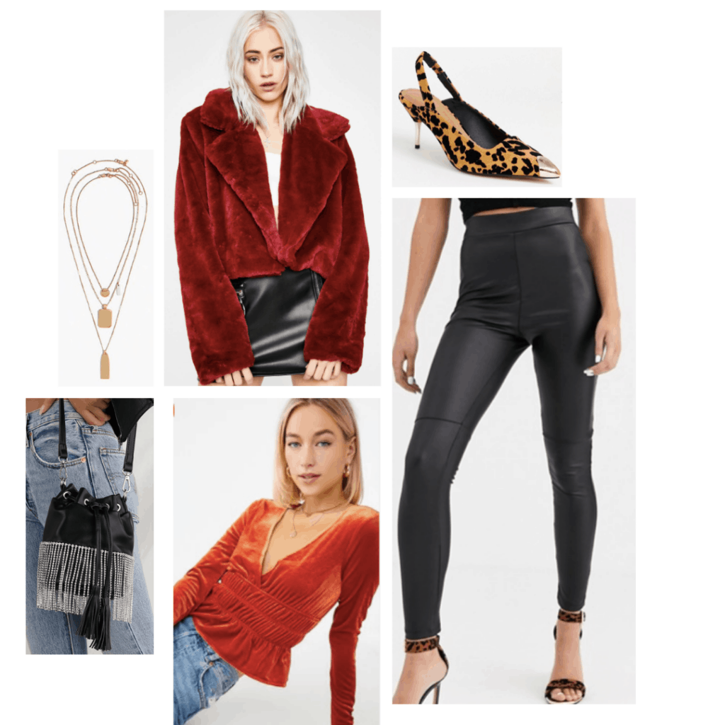 Outfit inspired by Josie from the TV show Katy Keene with faux leather leggings, velvet top, layered necklaces, leopard print heels, bucket bag