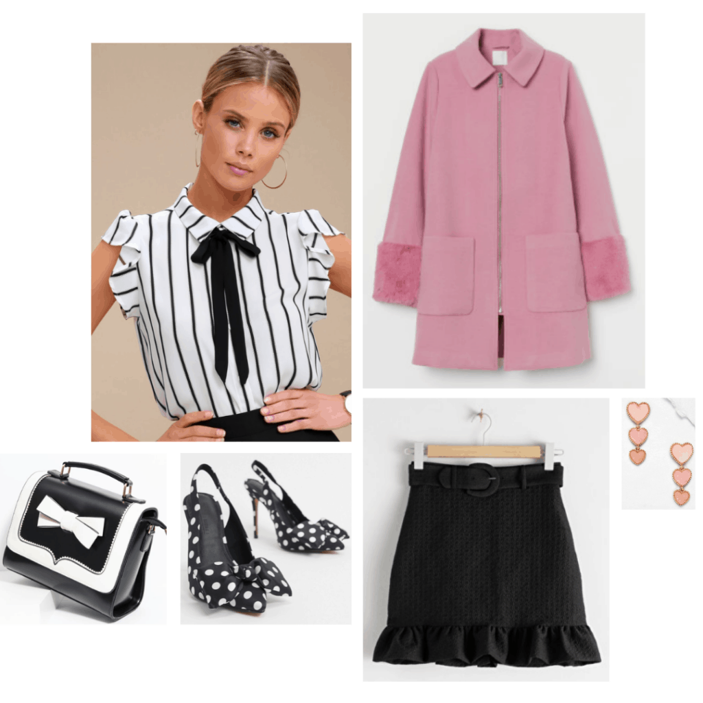 Outfit inspired by Katy Keene's style on the TV show Katy Keene - striped blouse, pink coat, black ruffle skirt, polka dot heels, bow purse