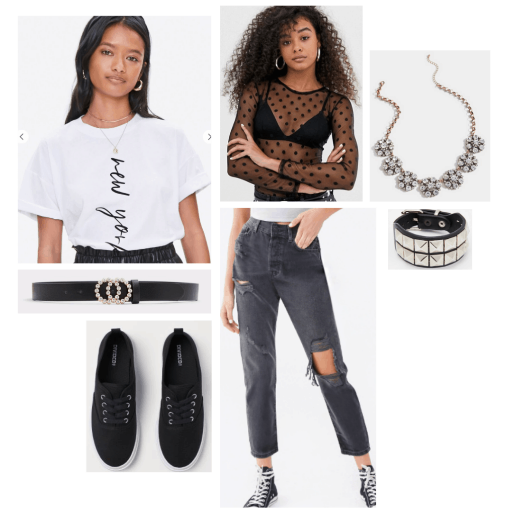 Confessions of a Teenage Drama Queen fashion: Outfit inspired by Lola's style with mesh top, ripped jeans, sneakers, studded jewelry, and cropped t-shirt