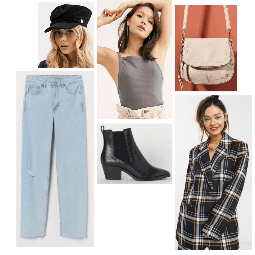 Outfit inspired by Lola from Confessions of a Teenage Drama Queen with light wash jeans, plaid blazer, tank top, black boots, baker boy cap