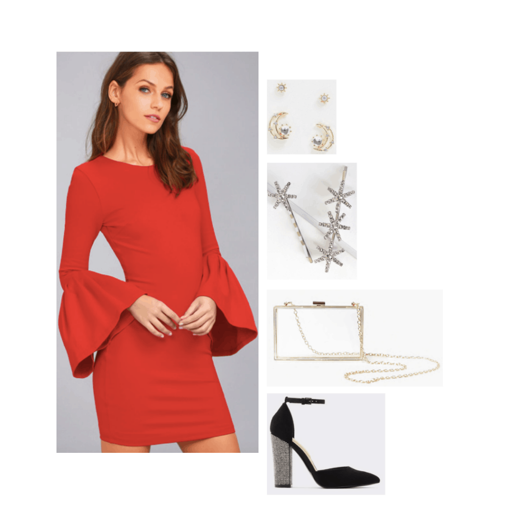 Red dress outfit inspired by Lola from Confessions of a Teenage Drama Queen with black heels, clear bag, star hair clips, moon earrings