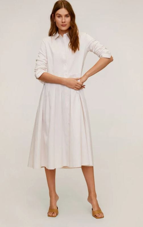 Spring pieces we love: Classic white shirt dress by Mango