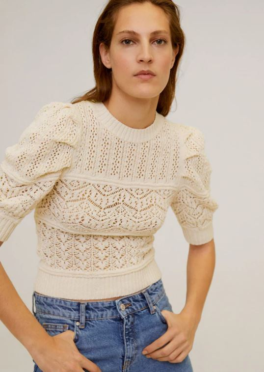 Spring pieces: Mango short sleeve openwork sweater