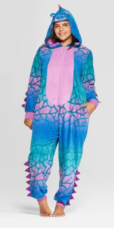 Blue, purple, and pink dino onesie.