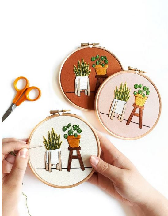 Houseplants embroidery kit.