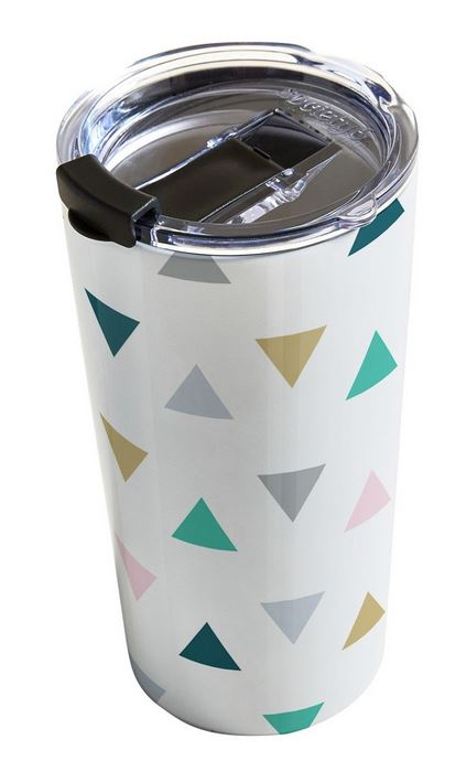 Pastel triangle pattern travel mug.