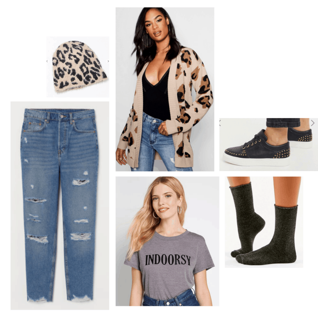 How to wear mom jeans: Mom jeans outfit with leopard cardigan and hat, T-shirt that says Indoorsy, black socks and black studded sneakers