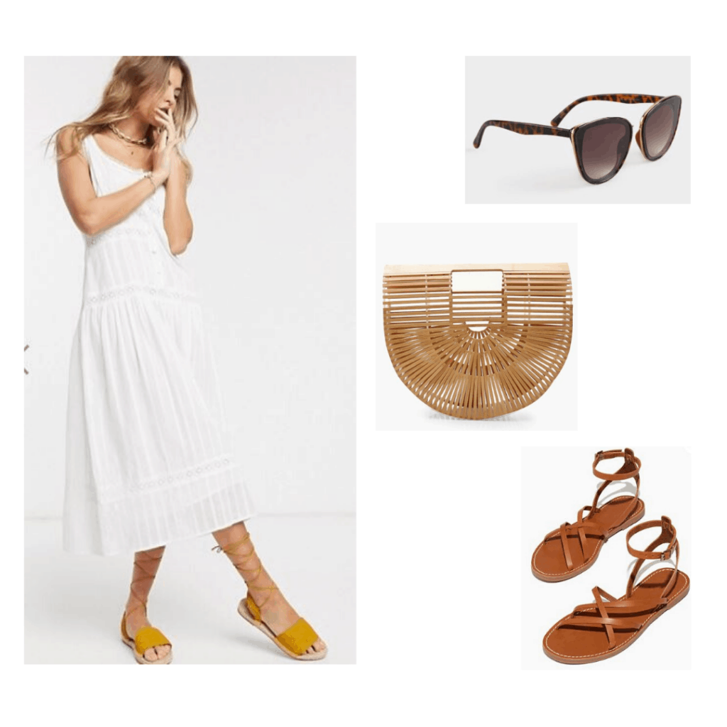 Summer French inspired outfit with cotton white midi dress from ASOS, cat eye sunglasses, wicker purse, and brown sandals