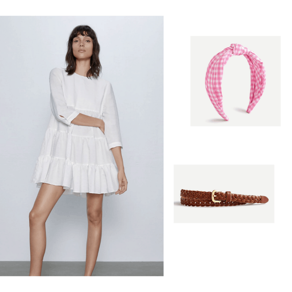 Zara white gathered dress styled with a J.Crew headband and belt