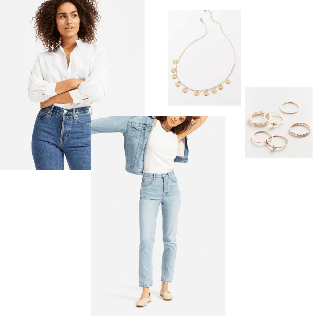 WFH outfit for online classes and jobs - Everlane white button down styled with light washed straight leg Everlane jeans and dainty jewelry from Urban Outfitters