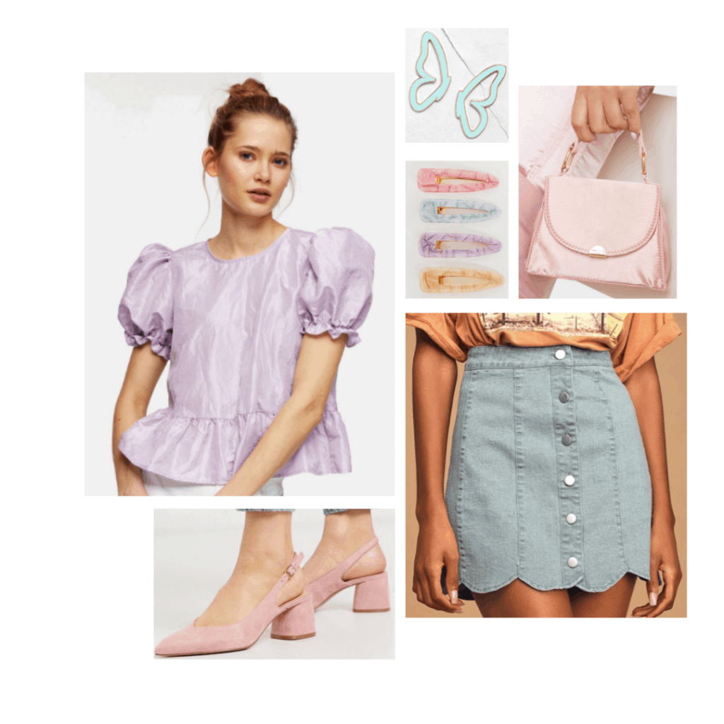 Pastel outfit inspired by the fashion on Euphoria - lavender top, button front mini skirt, pastel bag, butterfly clips, pink suede heels