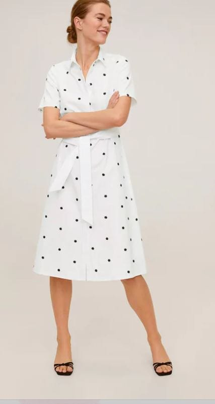 Floral embroidered shirt dress by Mango
