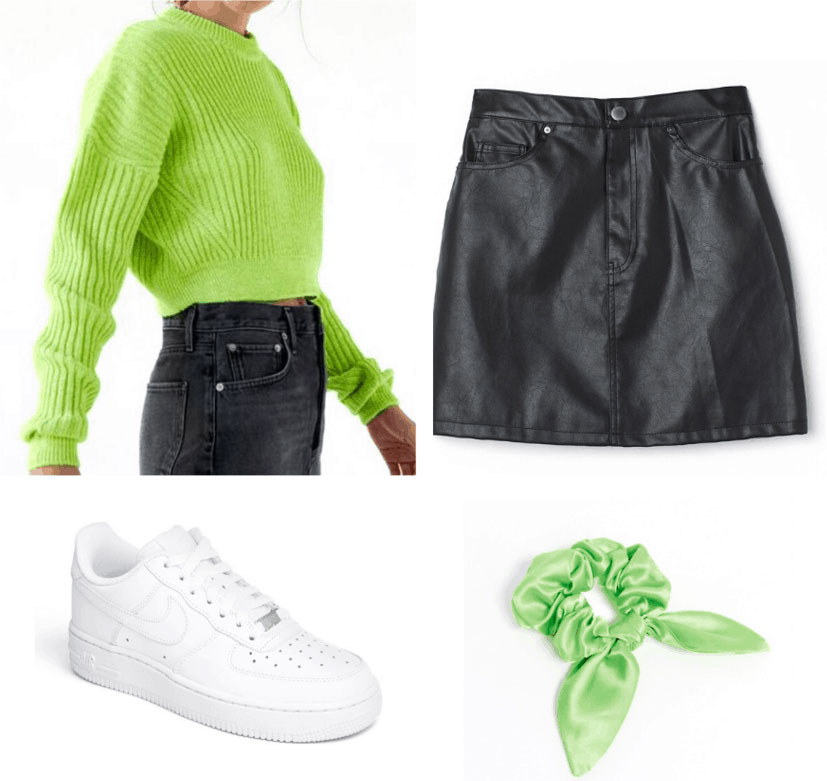 St. Patrick's day outfit: Lime green sweater, black faux leather mini skirt, sneakers, lime green scrunchie