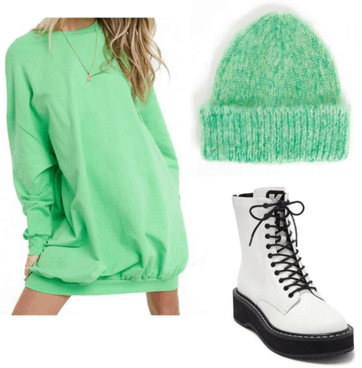 St. Patrick's Day outfit 3: Lime green oversized sweatshirt, fuzzy hat, platform boots