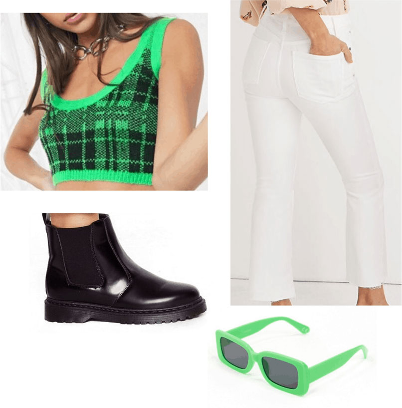 St. Patrick's Day outfit with plaid bralette, high waisted white jeans, Chelsea boots, green sunglasses