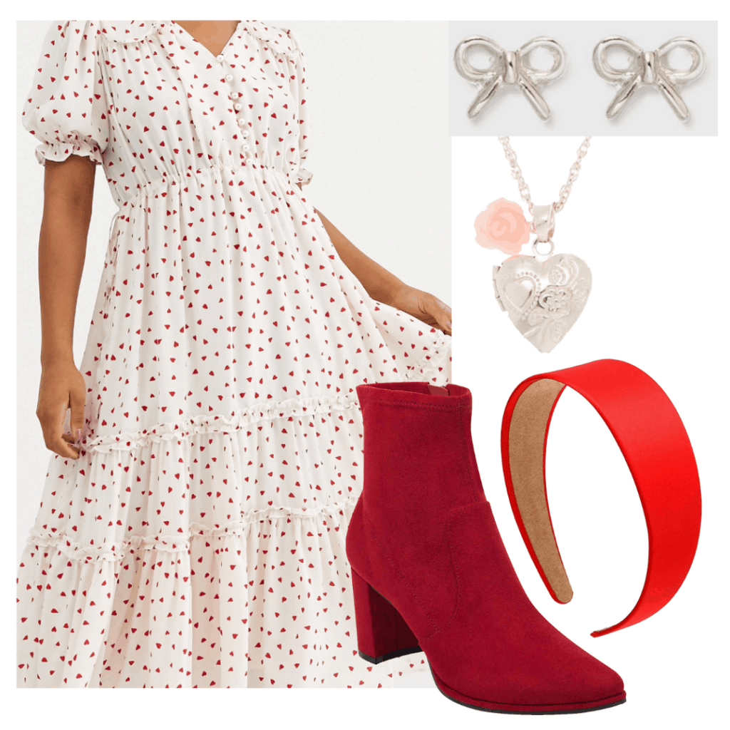 Lara Jean outfit from PS I still Love You: Heart print dress outfit from Valentine's Day with red and white dress, red boots, headband, jewelry