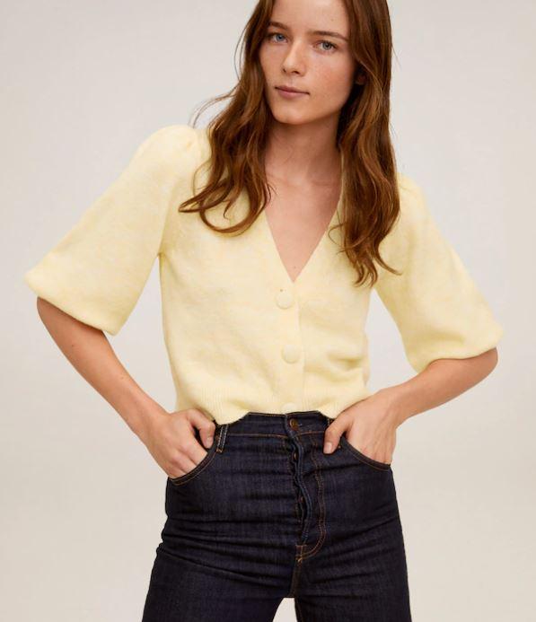 Mango yellow short sleeve cardigan