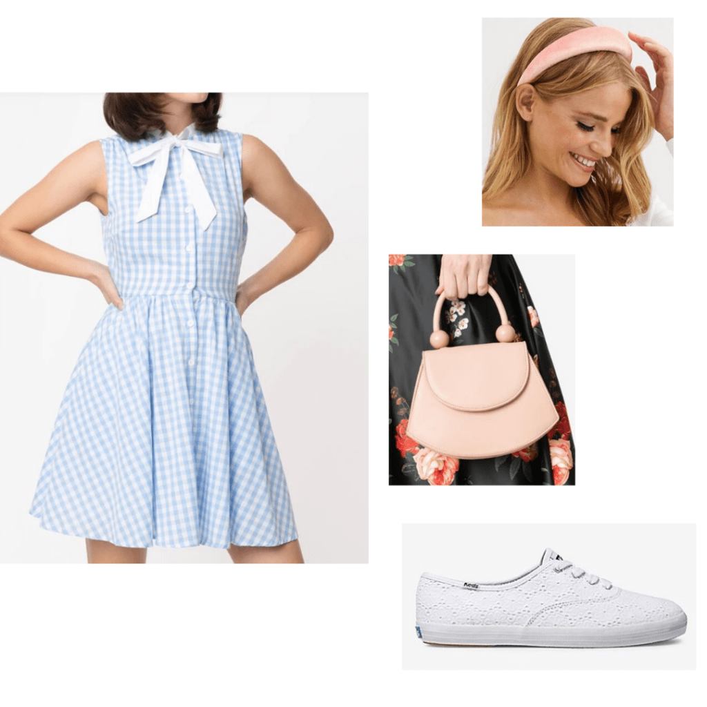 Unique Vintage gingham mini dress, pink puffy headband, pink handbag, and embroidered white Keds