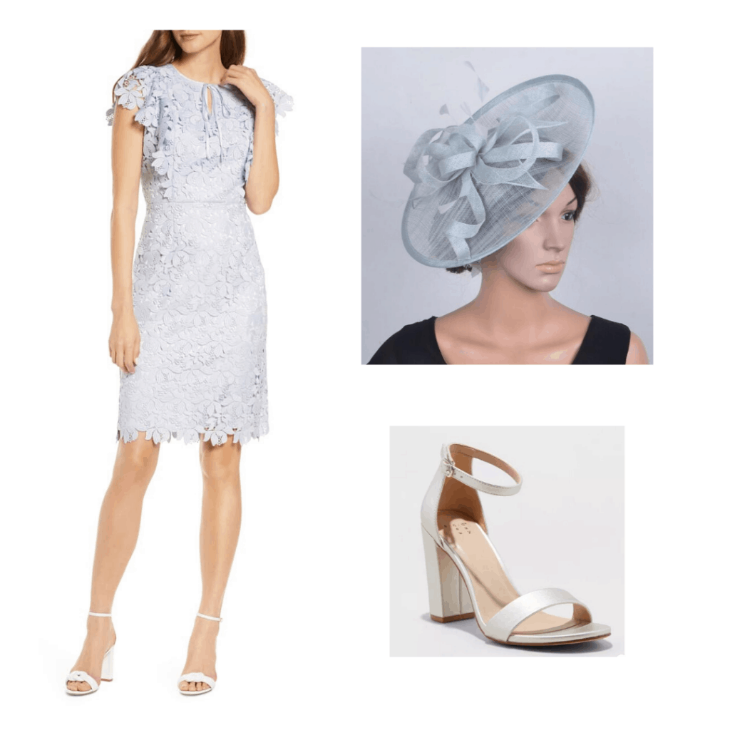 Kate Middleton inspired outfit with Rachel Parcell blue sheath dress, Etsy fascinator, and Target silver heels
