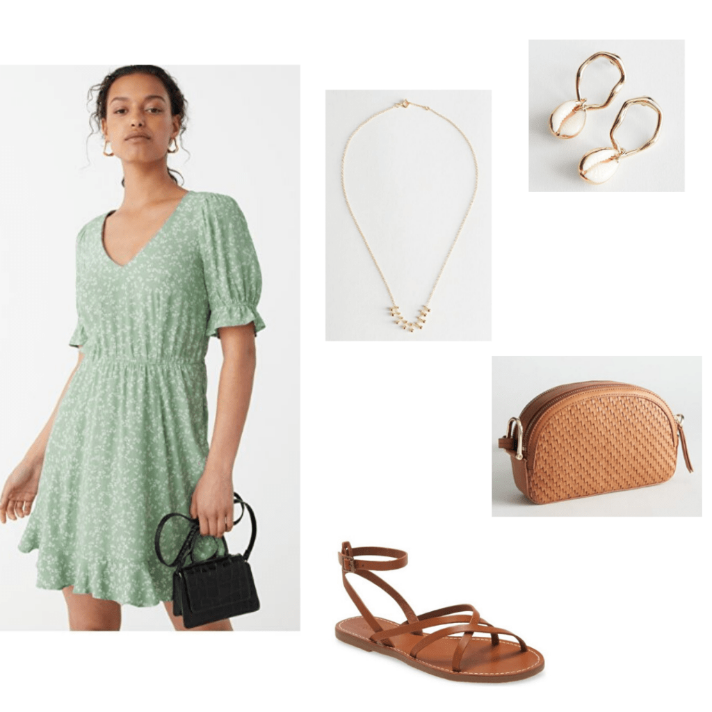 Summer dresses for 2020: Floral dress from & Other Stories with dainty jewelry, brown cross body b & Other Stories. Also styled with Madewell brown sandals