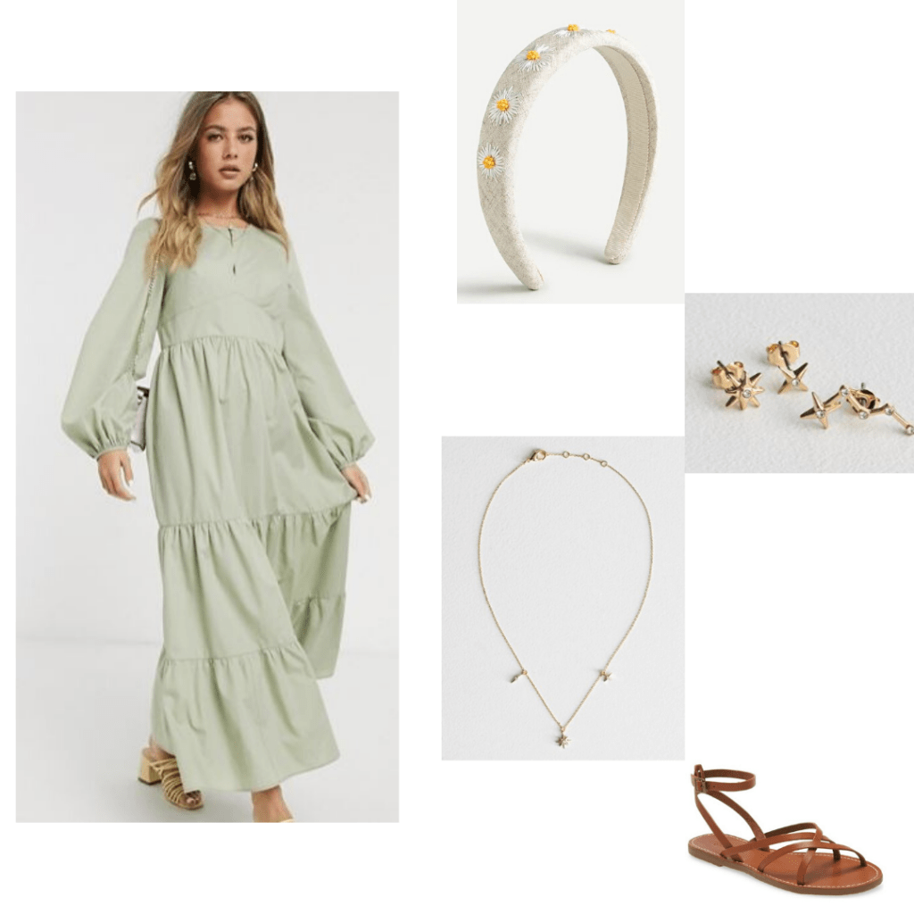 Nightgown inspired dress by ASOS style with J.Crew daisy headband, & Other Stories necklace and earrings, and Madewell brown sandals