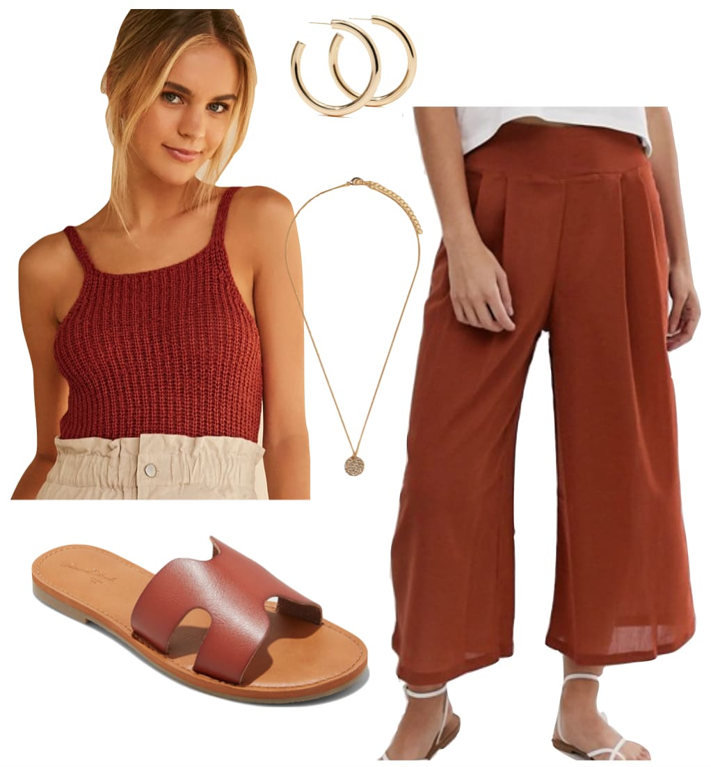 Ayesha Curry Outfit: rust knit tank top, rust culottes, large gold hoop earrings, gold pendant necklace, and brown flat slide sandals