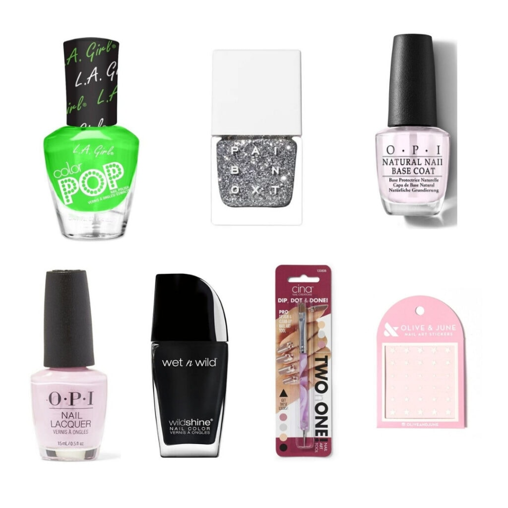 Bright green, silver glitter, pink and black nail polish and tools.