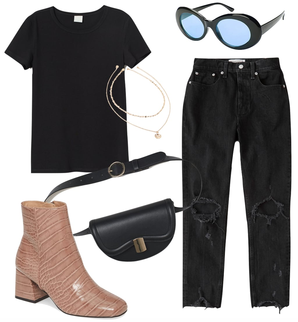 Hilary Duff Outfit 2: black crewneck t-shirt, black ripped straight leg jeans, black and blue tinted oval sunglasses, layered necklace, black and gold belt bag, and tan crocodile embossed ankle booties