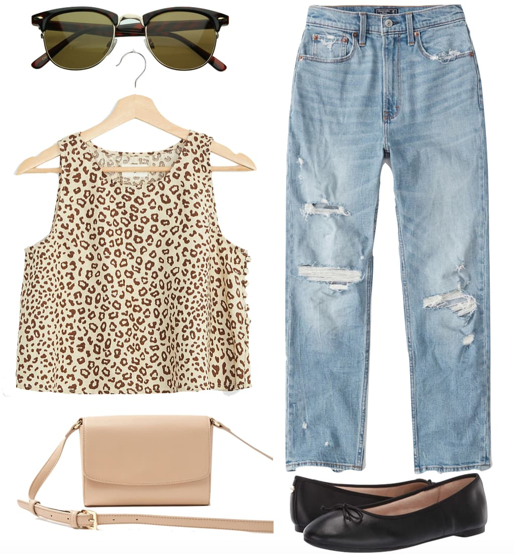 Lucy Hale Outfit #1: leopard print sleeveless top, club master sunglasses, ripped straight leg jeans, beige crossbody bag, and black ballet flats