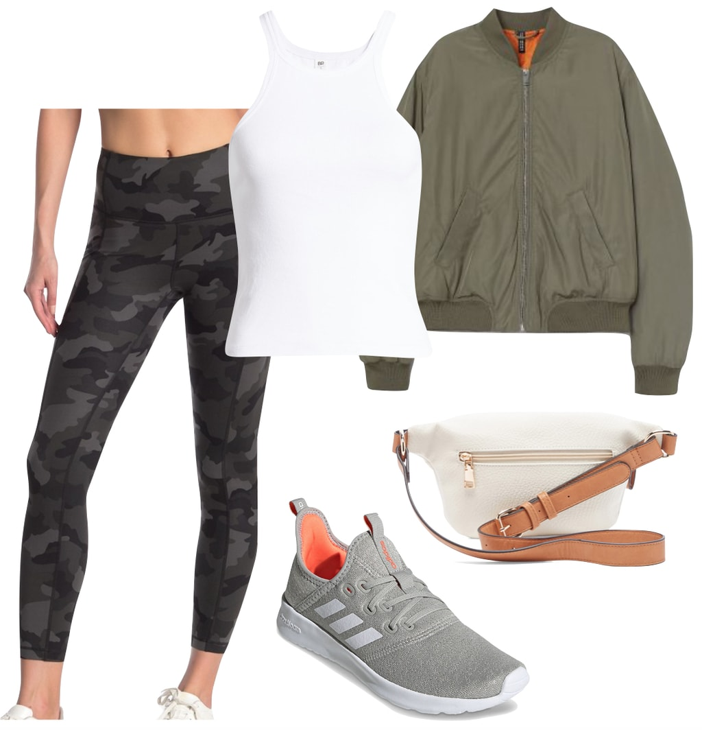 Lucy Hale Outfit #2: camo print athletic leggings, white tank top, olive green bomber jacket, faux leather belt bag, and gray Adidas sneakers