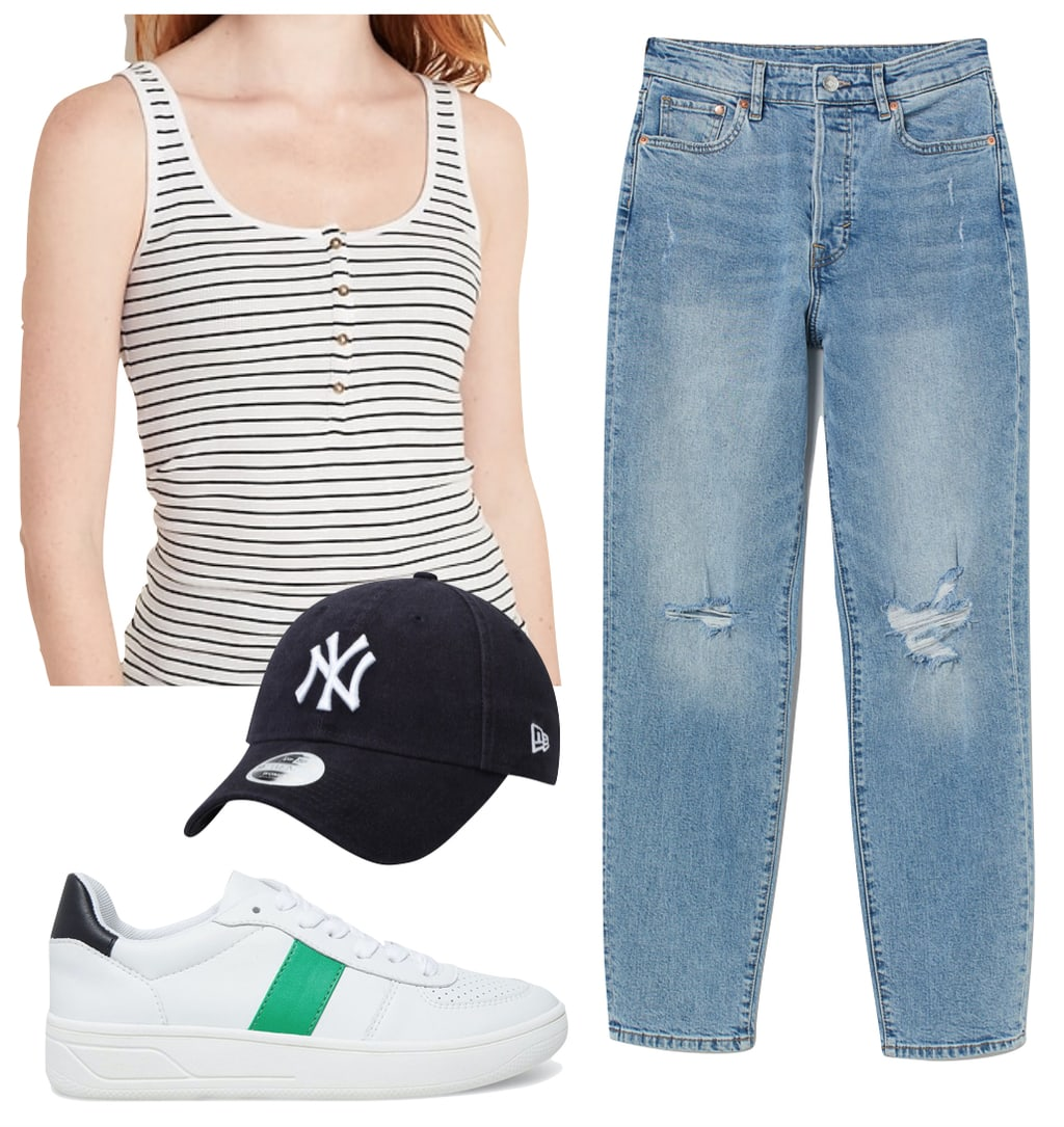 Lucy Hale Outfit #3: striped button-front tank top, mom jeans, Yankees baseball cap, and side stripe low-top sneakers