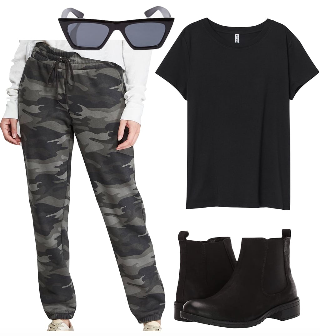 Miley Cyrus Outfit: camouflage print sweatpants, black crewneck t-shirt, black angular sunglasses, and black flat Chelsea boots