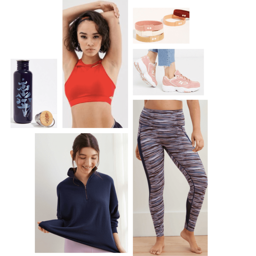 Outfit inspired by Mulan: navy pullover sweater, high-neck red sports bra, stripe leggings, pink sneakers
