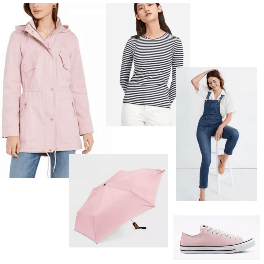 How to wear raincoats: Pastel pink rain coat styled with striped tee, overalls, pink Converse and a pink umbrella