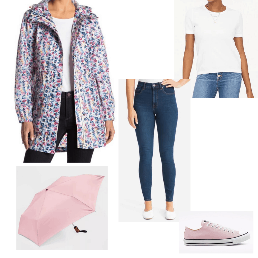 Joules floral rain coat with a white sweater, dark skinny jeans, pink Converse, and pink umbrella