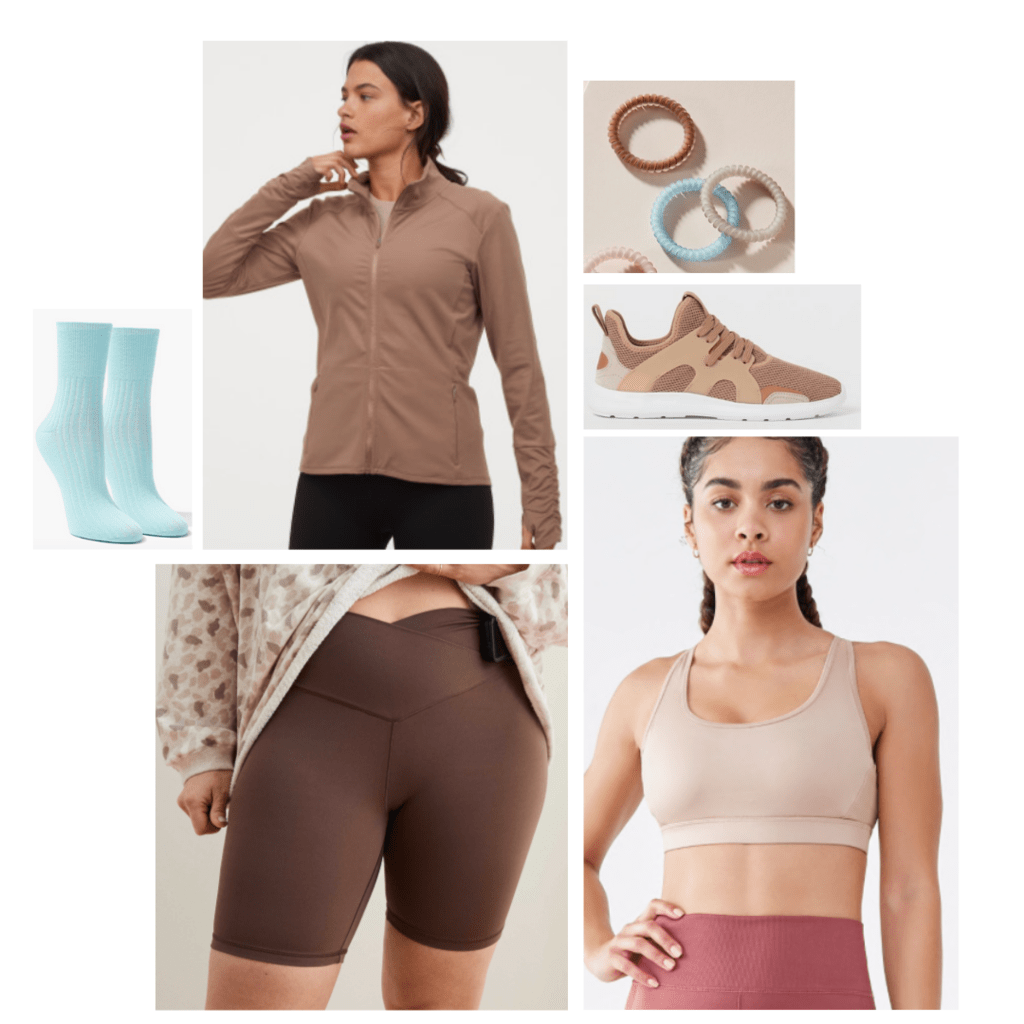 Outfit inspired by Pocahontas: brown bike shorts, brown zip-up, nude sports bra, blue socks, brown sneakers