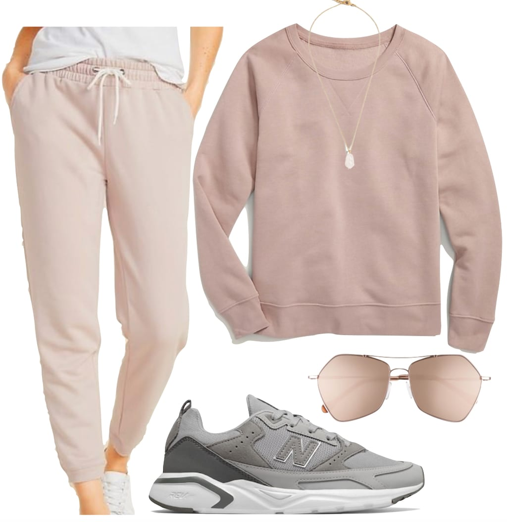 Rosie Huntington Whiteley Outfit: dusty rose sweatpants and crewneck sweatshirt, pearl drop pendant necklace, metal brow bar sunglasses, and gray New Balance sneakers